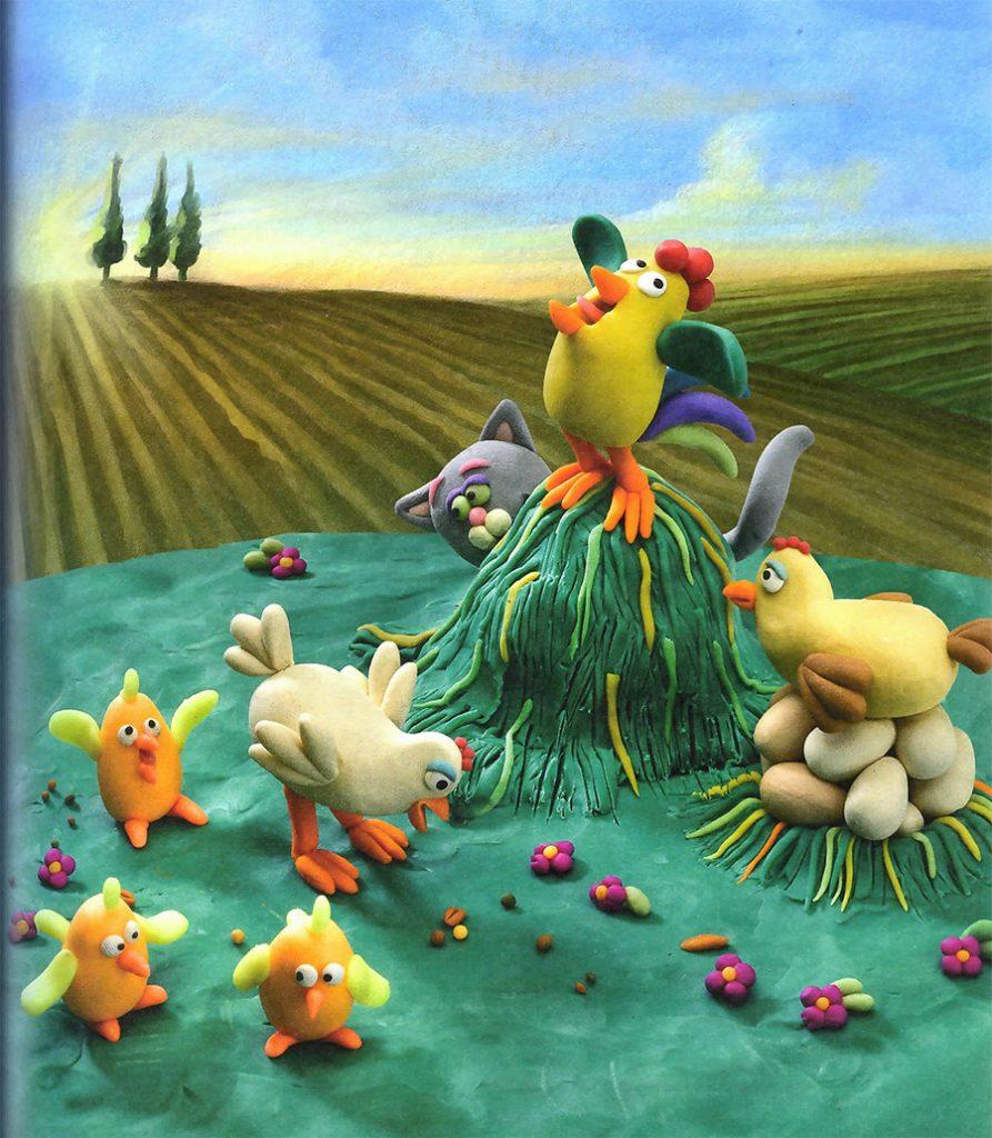 \Курица с гнездом из пластилина на картине
