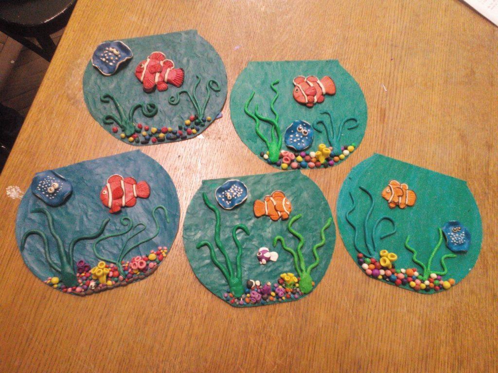 Примеры аквариумы техникой лепки