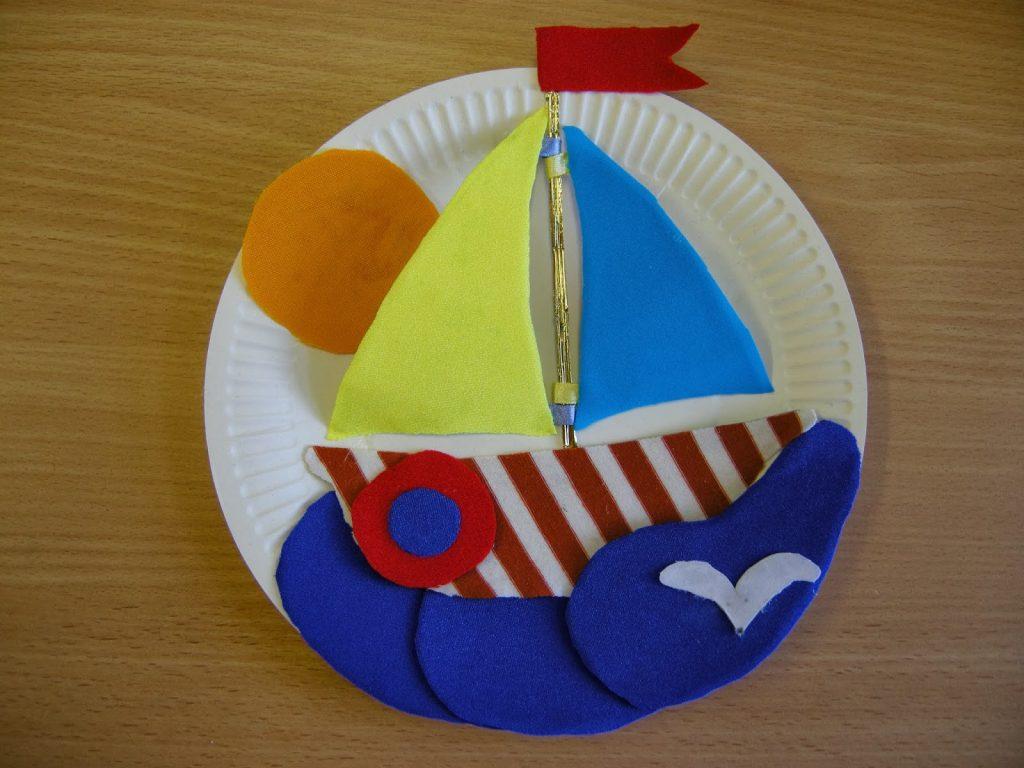 Корабль из тарелки поделка