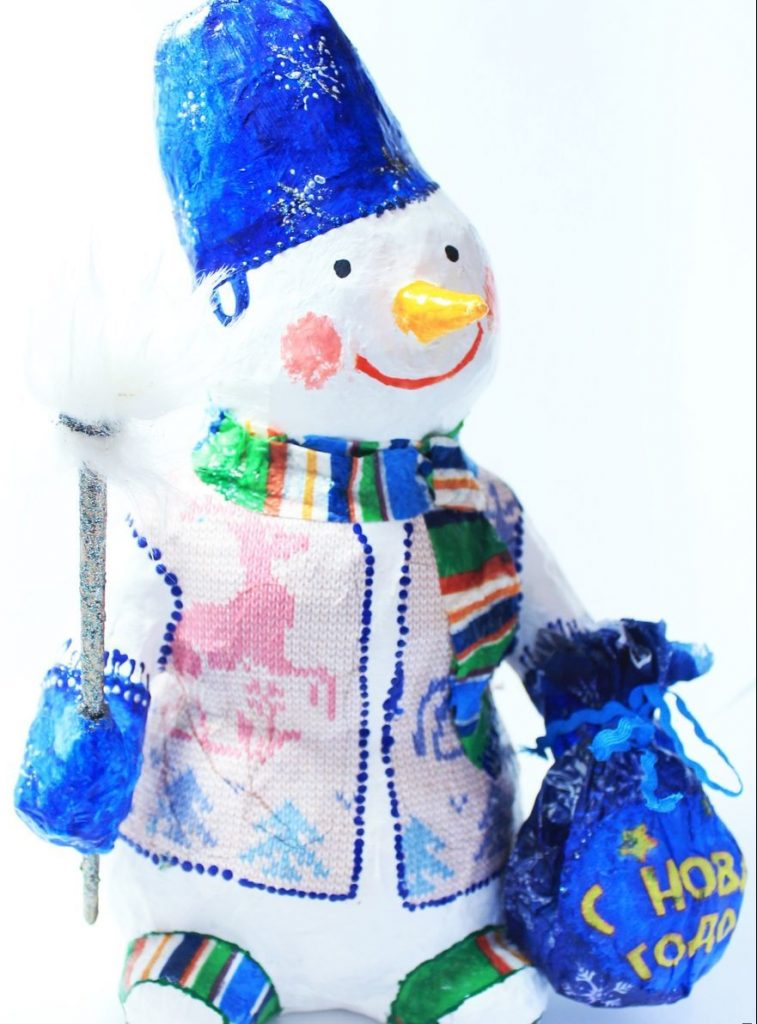 Снеговичок папье маше