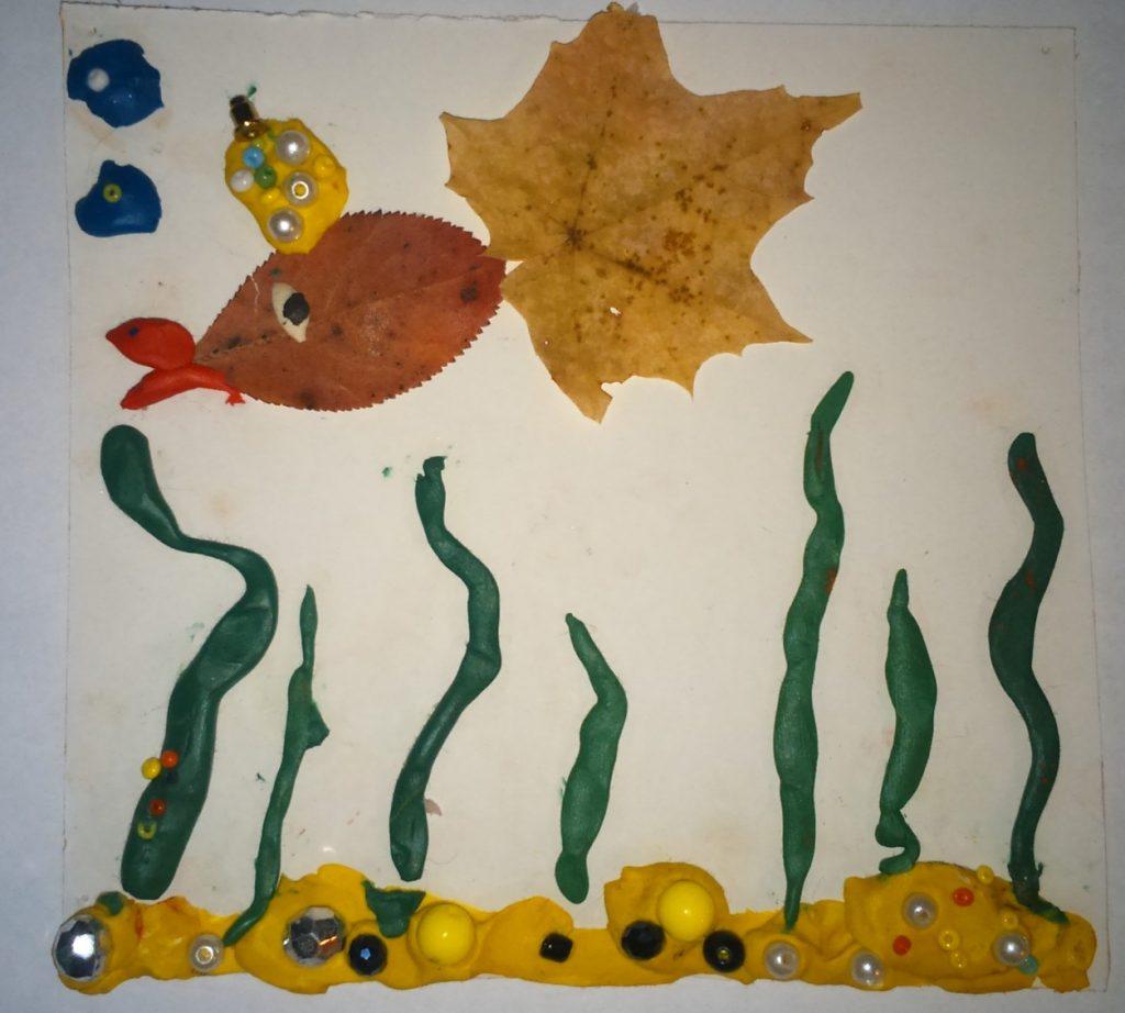 Картина рыба из пластилина