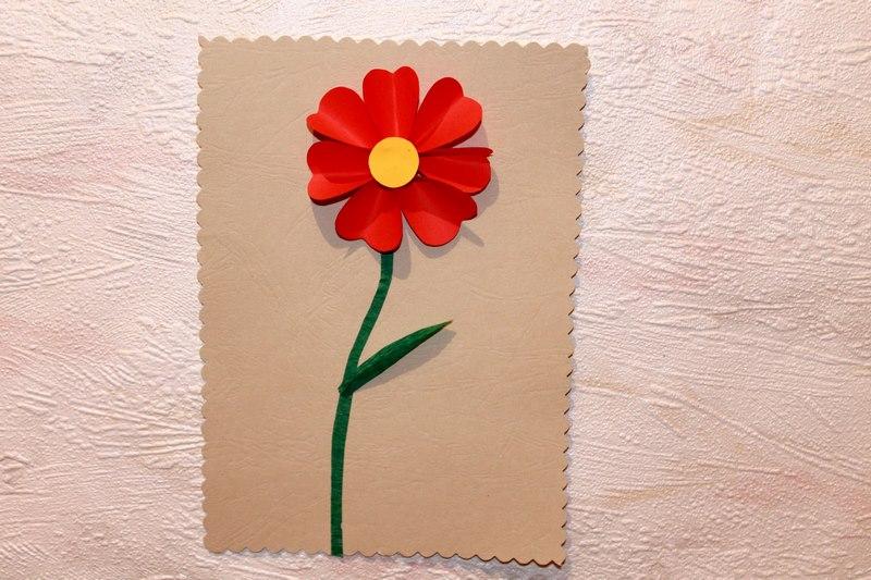 Открытка с цветком поделка