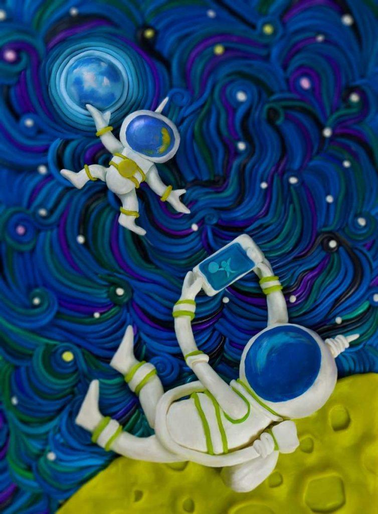 Картина в космосе из пластилина