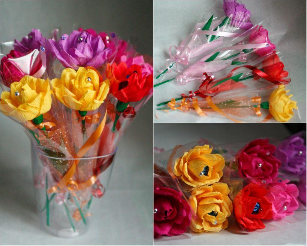 Красивые цветы из конфет