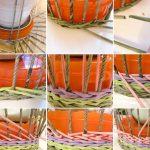 Схема создания корзины из плетения