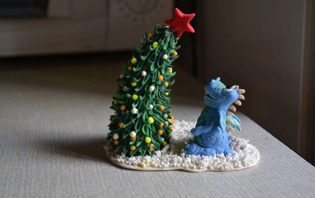 Картина елки из пластилина лепка