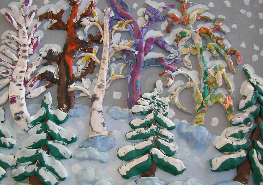 Картины из пластилина елки