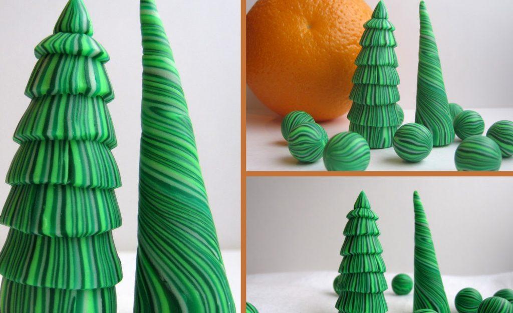 Пример лепки елки из пластилина