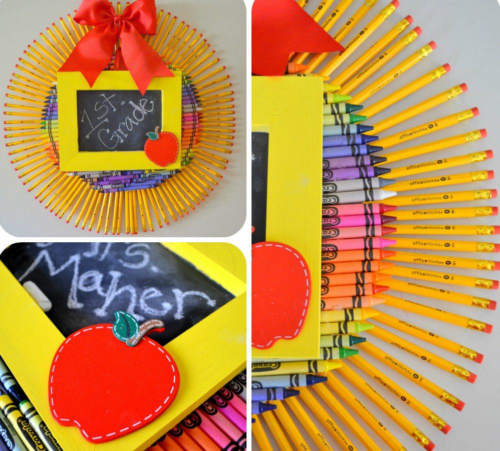 Рамка солнце из карандашей