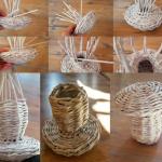Схема создания корзины из плетения трубочек