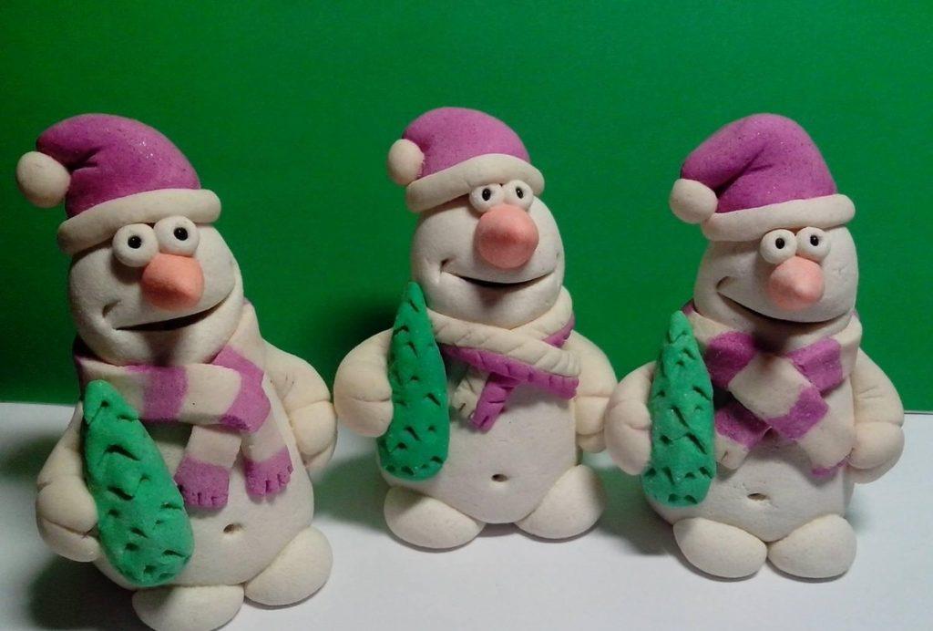Снеговики из теста