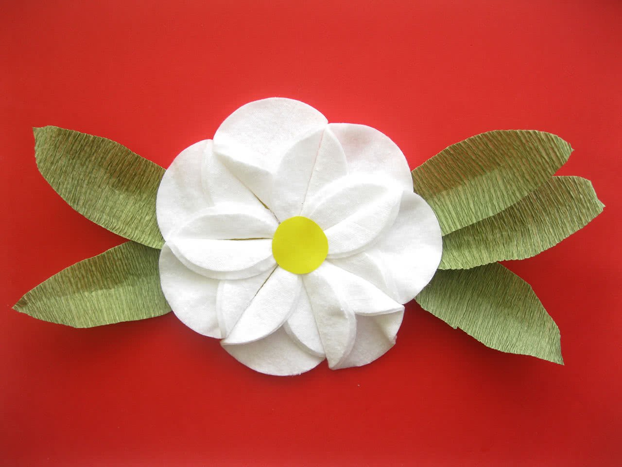 Поделка из белой бумаги белый цветок