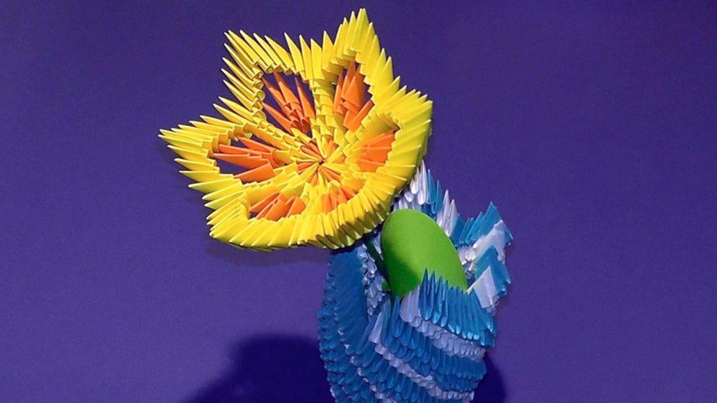 Цветок в стиле модульного оригами