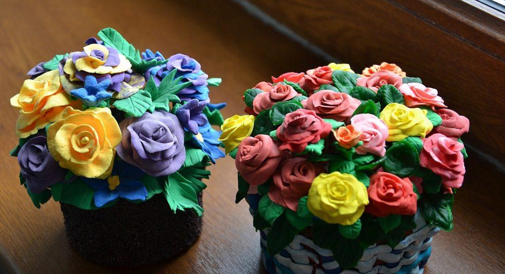 цветы из лепки пластилина