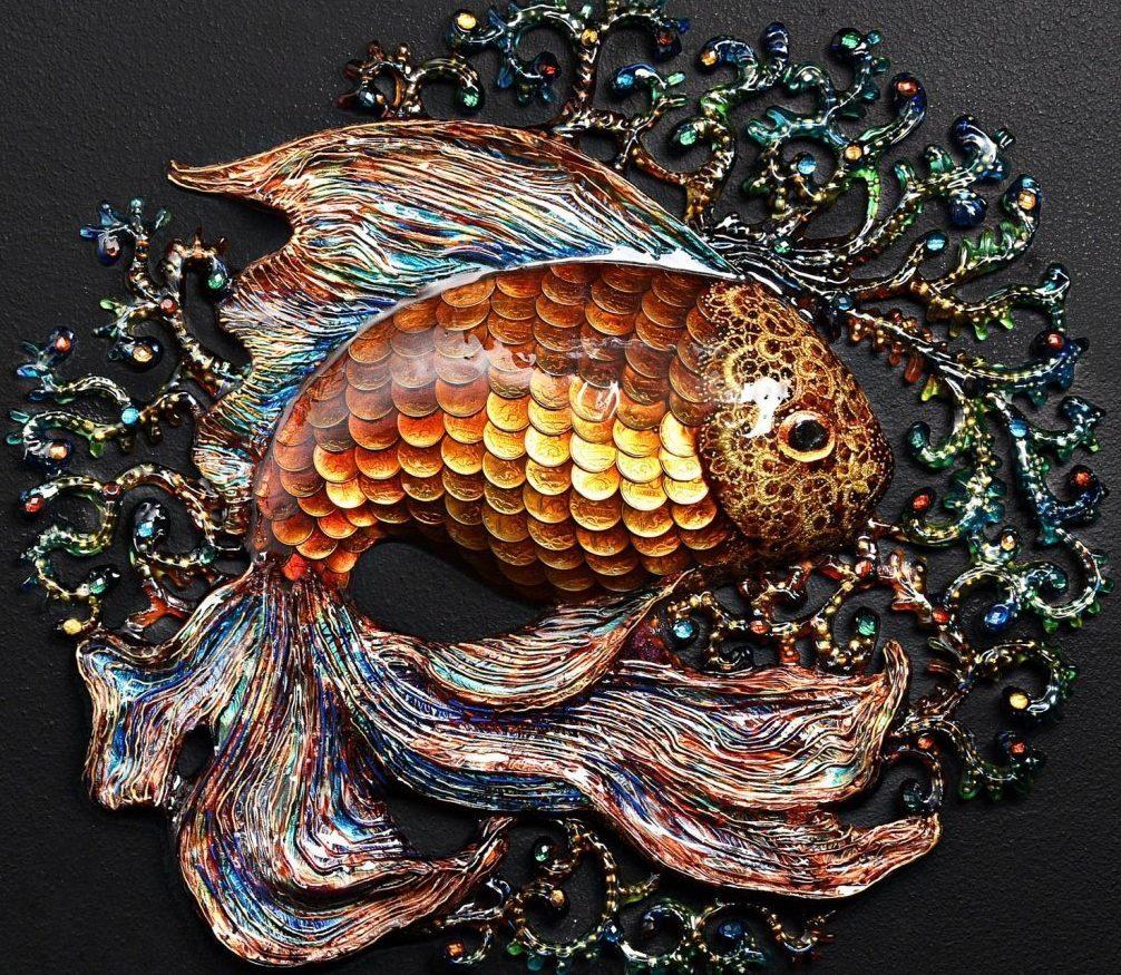 Золотая рыбка папье маше