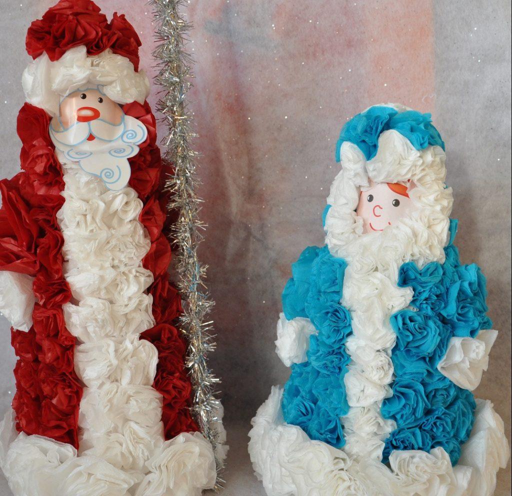 Дед мороз со снегурочкой из бумаги