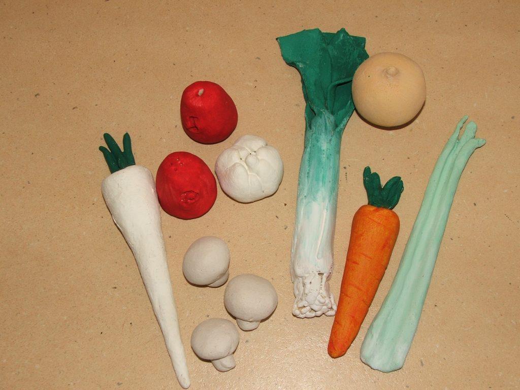 Овощи из соленого теста
