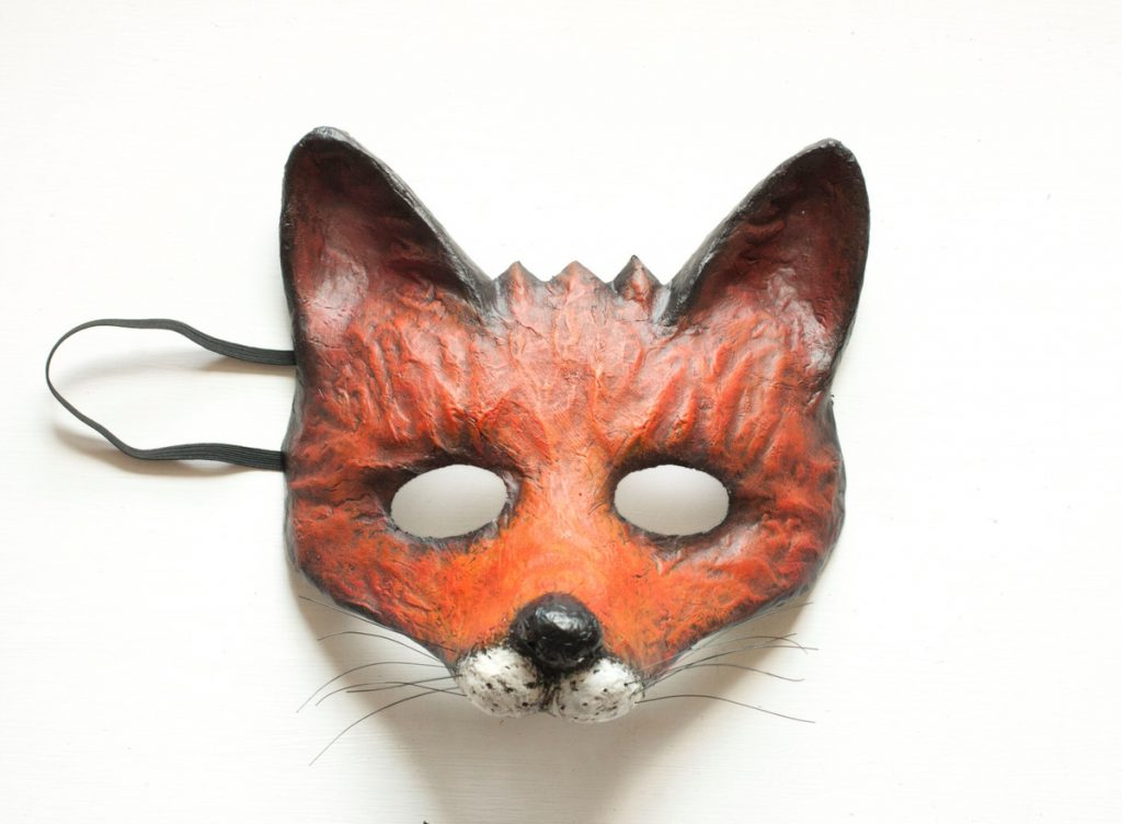 Маска лисы папье маше