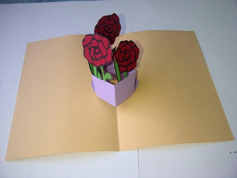 Сюрприз роза в открытке
