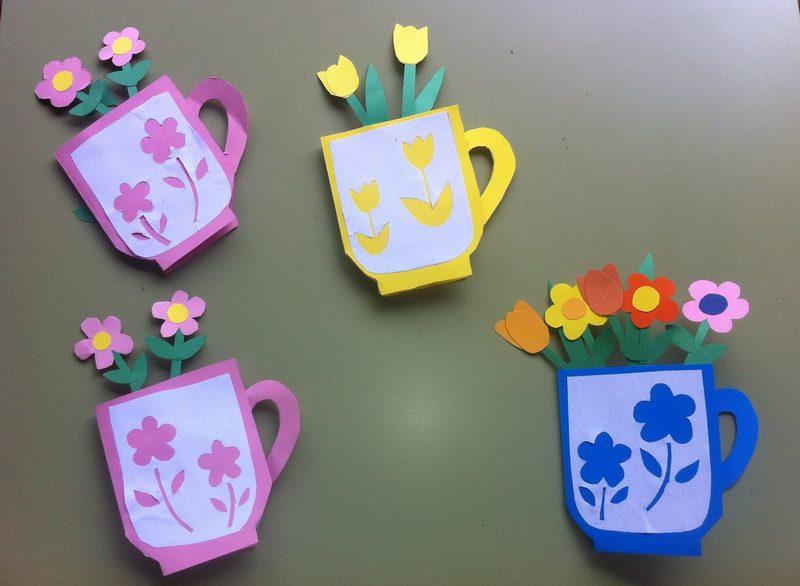 Цветы в чашке поделка