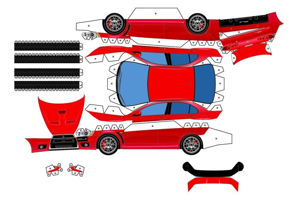 Красная машина из бумаги