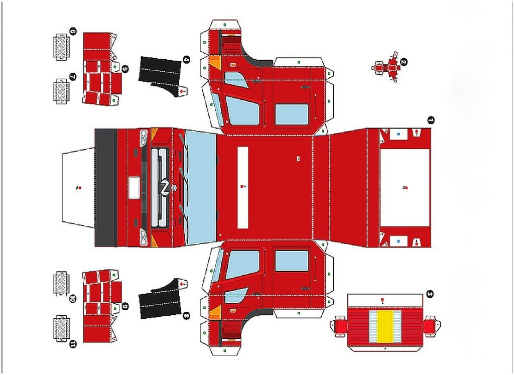 Пожарная машинка из бумаги