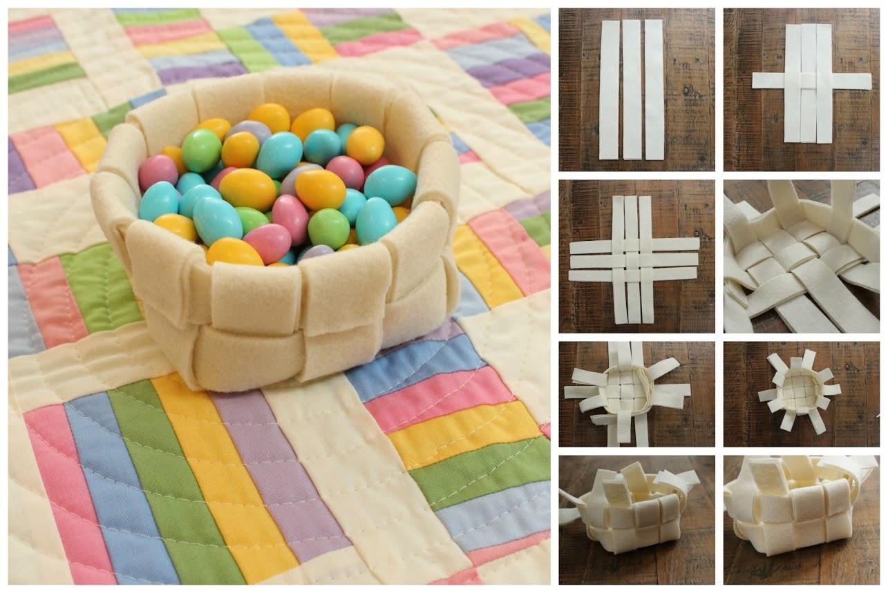Изготовление плетеной корзинки для яиц из фетра