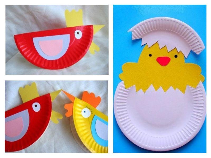 Курочки и цыпленок из бумажных тарелочек