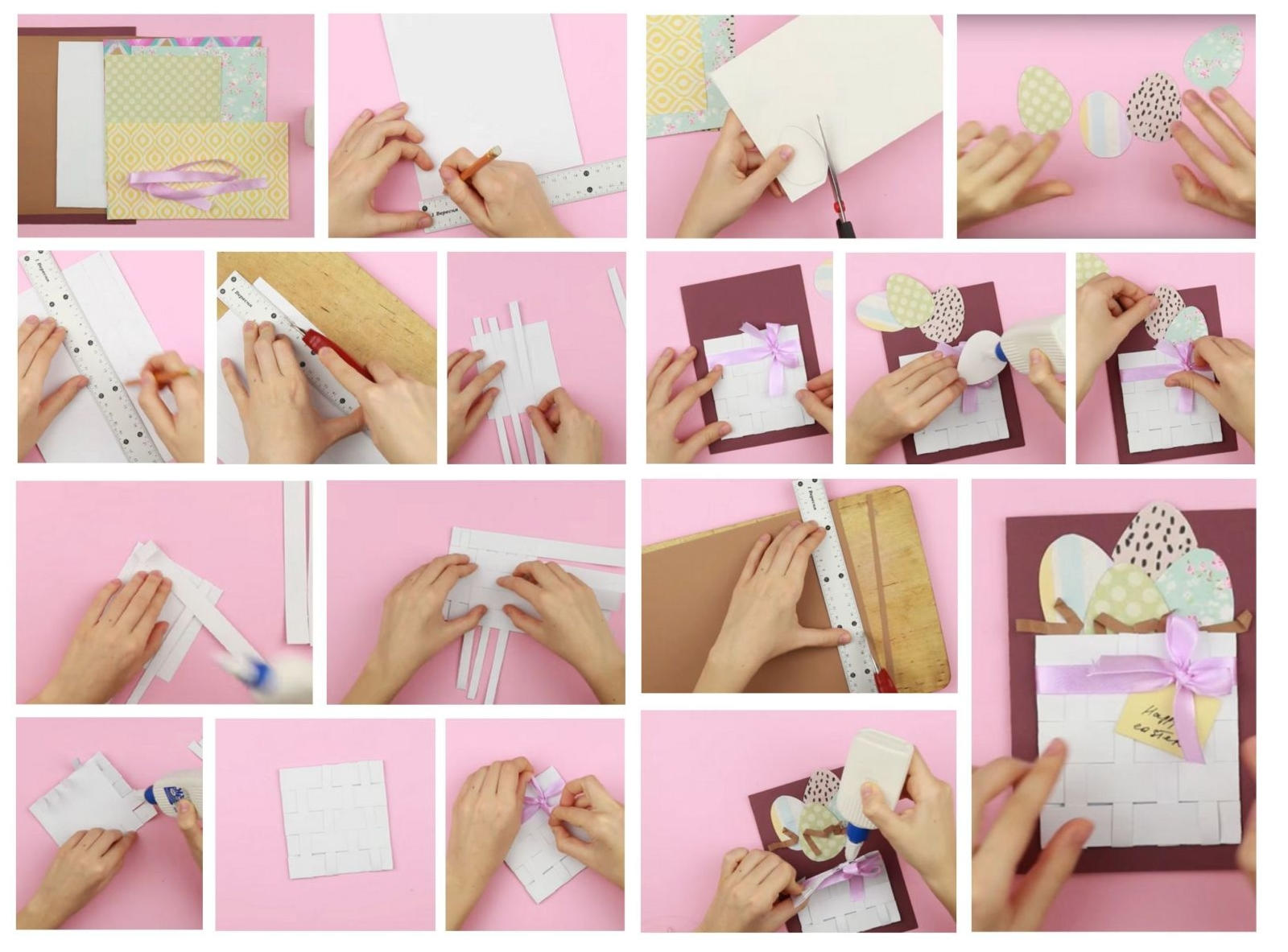 Изготовление открытки с корзинкой на Пасху