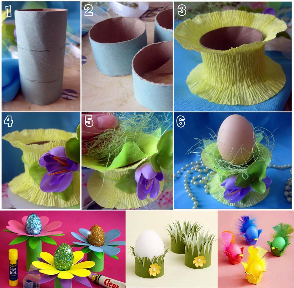 Подставки из картонных втулок для яиц