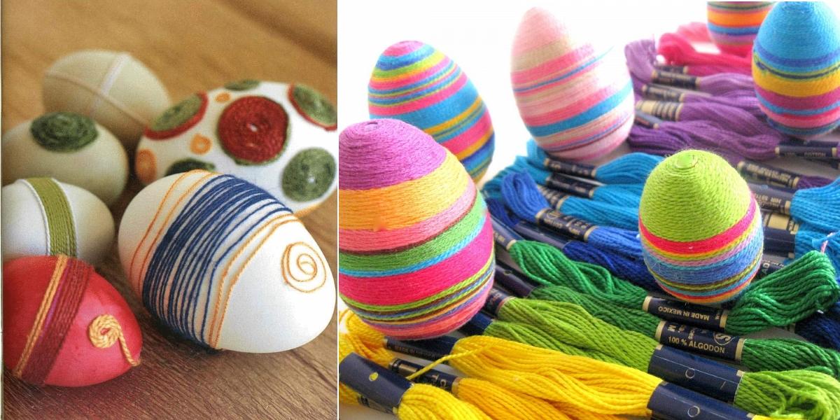 Украшение яиц пряжей и нитками