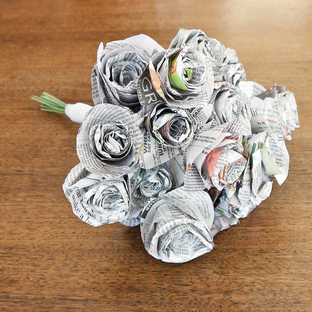 Букет роз из газеты