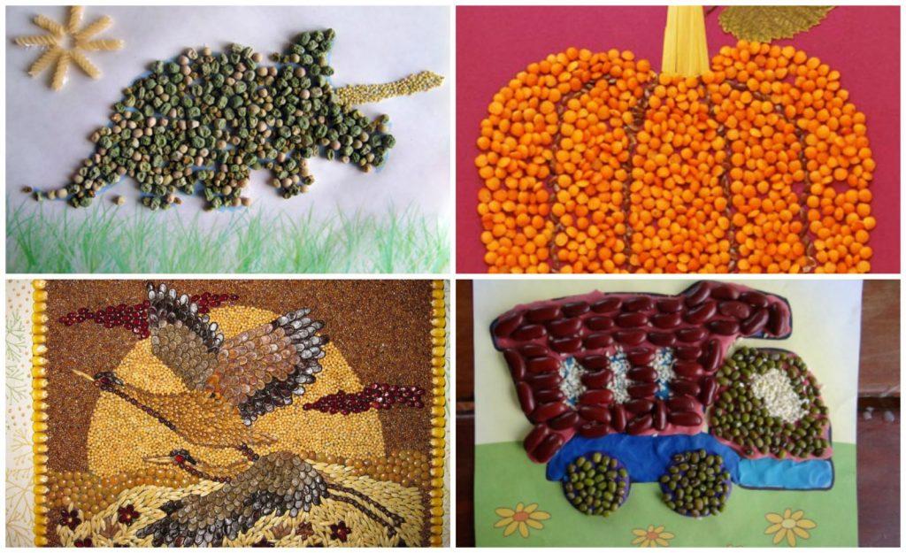 Поделки из макарон и крупы фото