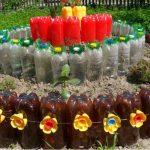 Красивое ограждение из бутылок