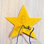 5. Вышиваем надпись мулине в 3 нити контрастного цвета. Используем шов назад иголку.