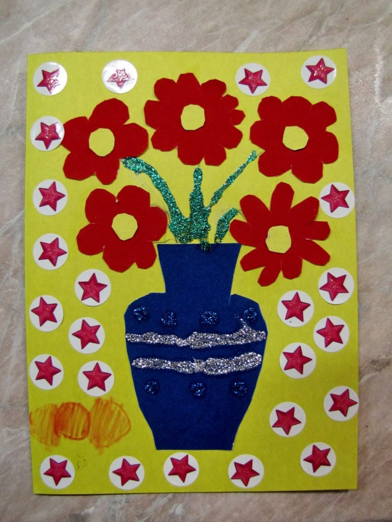 Аппликация цветы в вазе