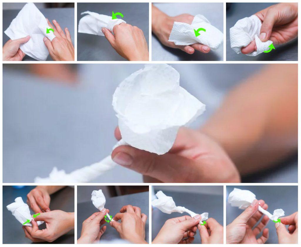 Экономичный вариант предусматривает изготовление розочки из салфетки методом скручивания.