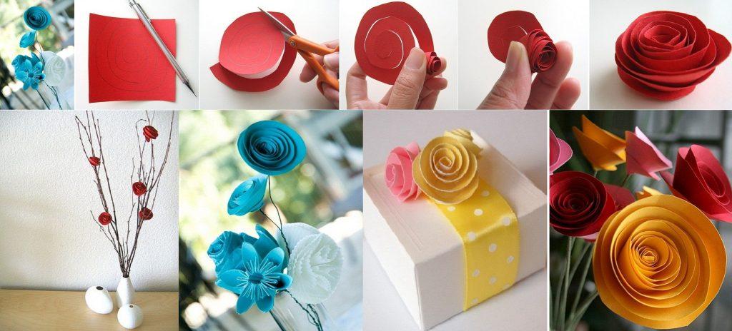 В технике спирального скручивания можно выполнить розочки не только из ажурных салфеток. Очень красивые цветы получаются из фетра, гофрированной бумаги, фоамирана и т.д.