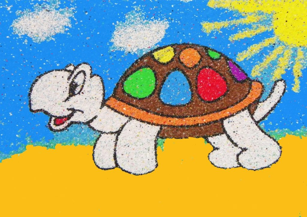 Картина черепаха из круп