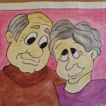 Картина шарж дед с бабушкой