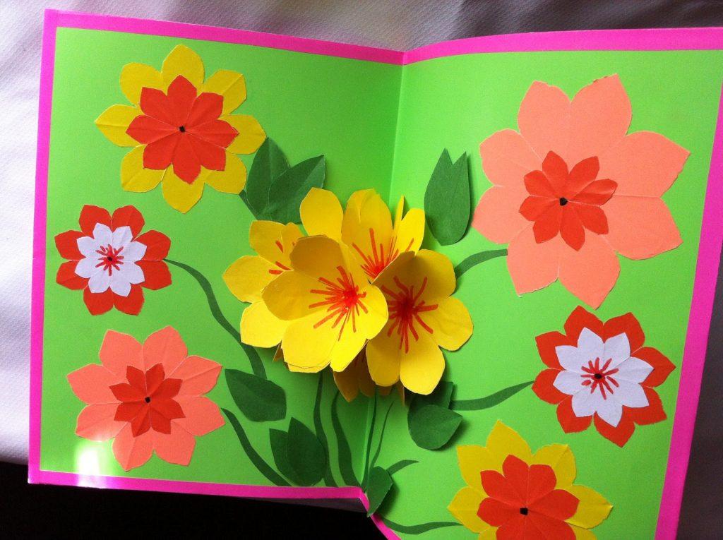Объемные цветы в открытке