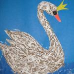 Поделка на картоне лебедь