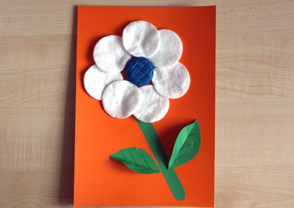 Цветок открытка из ватных дисков