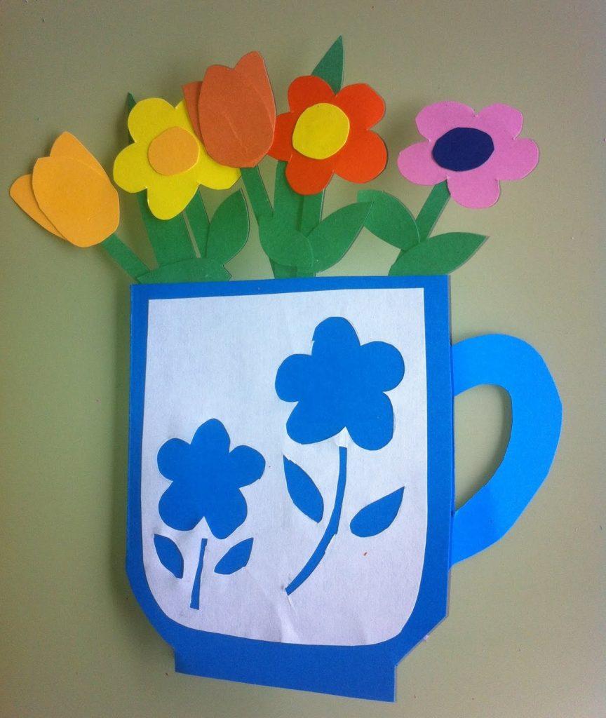 Открытка стакан с цветами