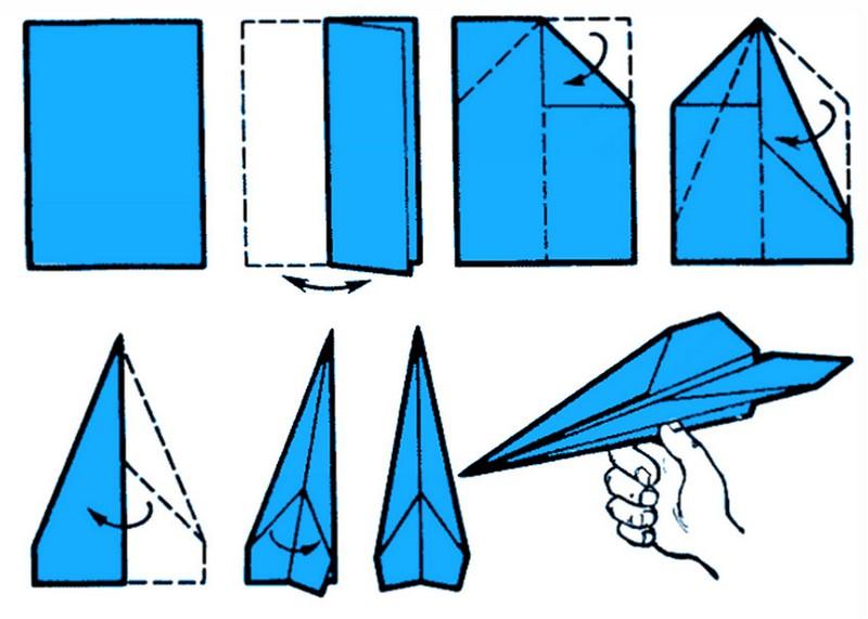 Простая схема самолета из бумаги