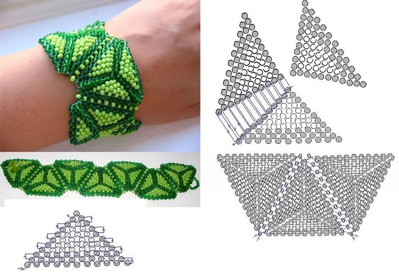 объемный зеленый браслет
