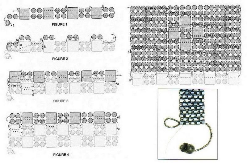 схема плетения толостого браслета из бисера