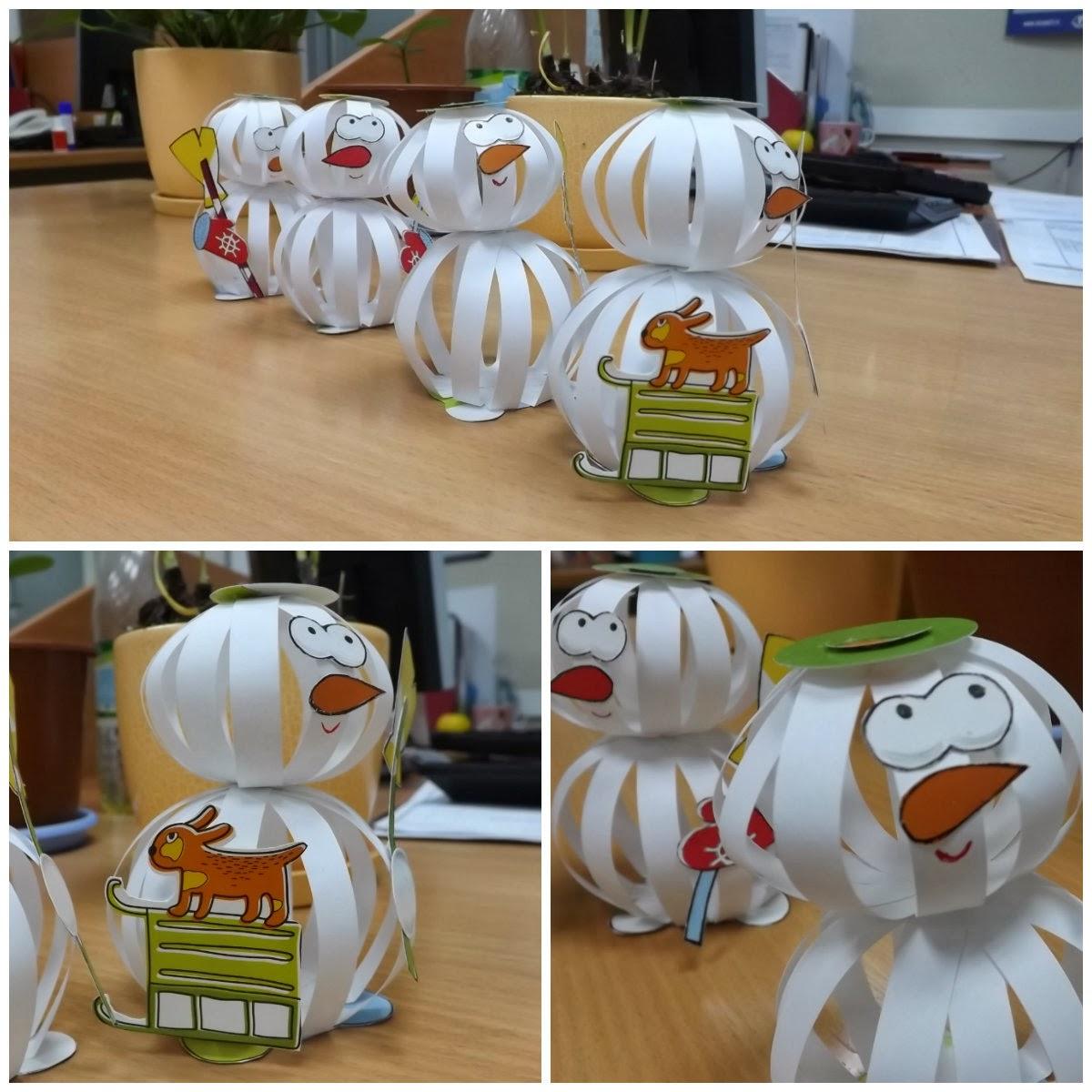 Снеговички из бумажных шаров
