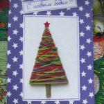 Плетёная ёлка на открытке