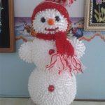Снеговик из ватных палочек в школу своими руками
